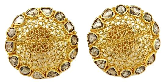 Other Round Dome Stud Earrings in 18k Yellow Gold & 1.50ct Chocolate Rose Cut Diamond