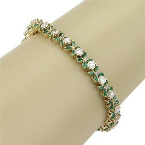 Other Estate 14k Yellow Gold 8.80ct Diamond & Emerald Tennis Bracelet