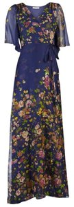 Navy/Multi Maxi Dress by Paper Crown Maxi Floral Silk Gown V-neck