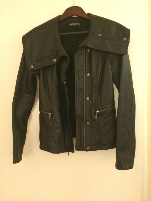 Vince Leather Black Jacket