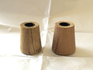 Set Of 2 Crate & Barrel Wood Taper Candle Holders