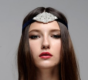 Art Deco Jeweled Headpiece Embellished Brooch Velvet Ribbon