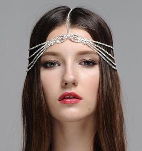Bohemian Headpiece - Wedding Headpiece Romantic Crystal Embellished Bridal Rhinestone Chain Headband - Boho Headpiece