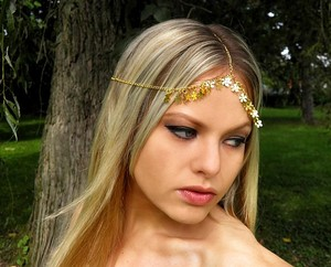 Wedding Headpiece Goddess Headpiece Chain Gold Headpiece Bridal Boho Bohemian Headpiece Hippie Hair Jewelry Gold