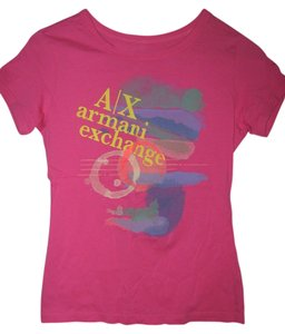 A|X Armani Exchange 100% Pima Cotton Graphic Tee T Shirt Pink