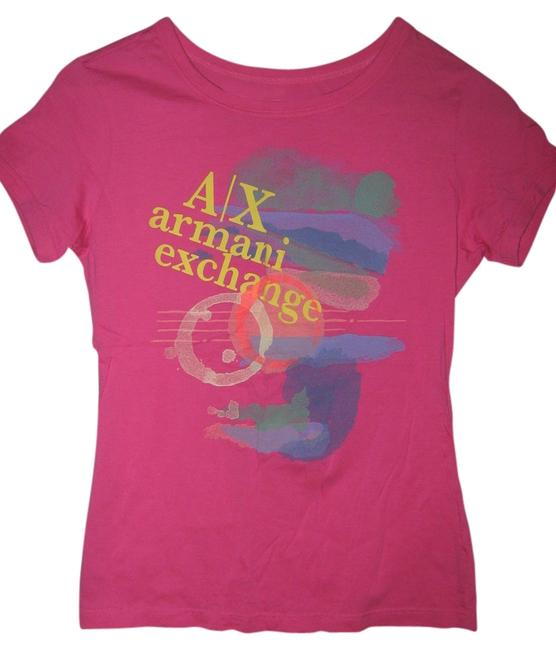A|X Armani Exchange Pima Cotton Graphic T Shirt Pink
