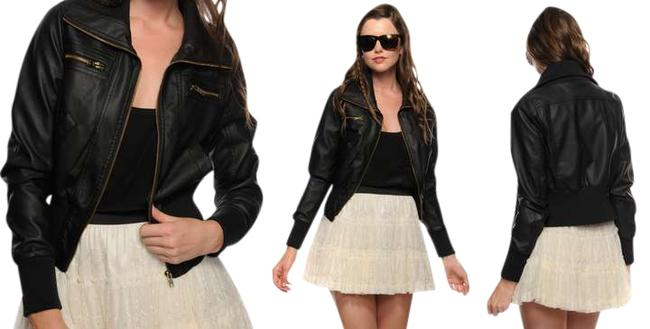 Forever 21 Brown Bomber Pleather Jacket