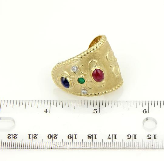 Other Estate 18k Gold 4.90ct Diamonds Rubies Sapphire & Emerald Wide Huggie Earrings