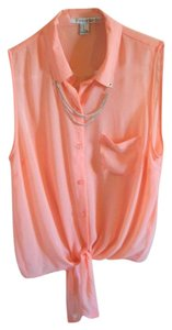 Forever 21 Peach Chain Detail Sleeveless Top