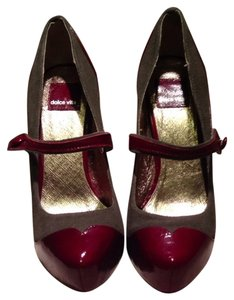 Dolce Vita Mary Jane Ankle Strap Two-tone Hidden Platform Stiletto Granite/Rubino (grey/deep red) Pumps
