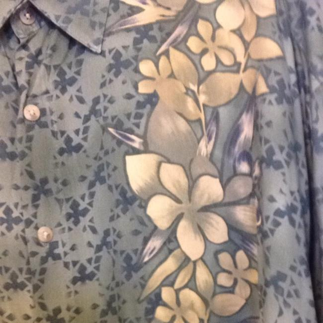 Lord & Taylor Button Down Shirt Green Blue Beige