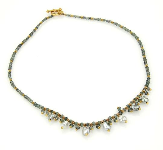 Laura Gibson LG Laura Gibson LG 22k & 18k Gold Green Tourmaline & Pearls Bead Necklace