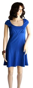 Aqua short dress Cobalt Blue Solid Women Clothing Cap Sleeve Short Sleeve Above Knee Mini Stretch Poly Spandex Size 4-6 Size 4 Size 6 Small Medium on Tradesy