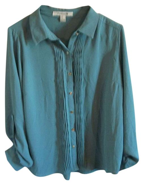 Forever 21 Blouse Button Down Shirt teal