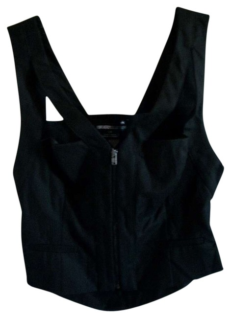 Forever 21 Cropped Zip Cut Top BLACK