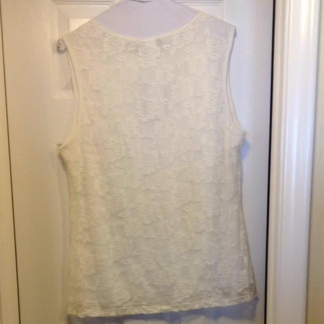 Jennie&Marlis Lace White Stretchy Womans Layering Piece Top Off White