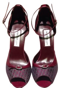 Sacha London Stiletto Open Toe Ankle Strap Two-tone Sandal Burgundy with print Pumps