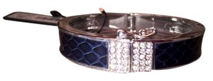 Ann Taylor Lovely AT blue crocodile and silver with diamantes bracelet