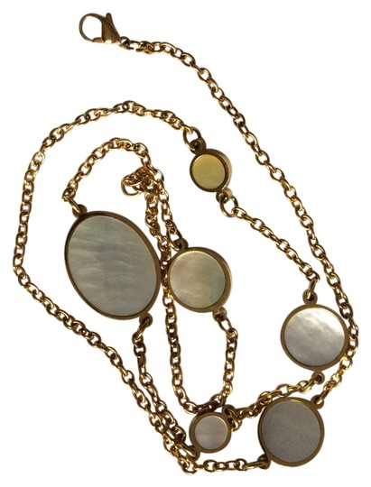 Steel time Mother pearls station necklace