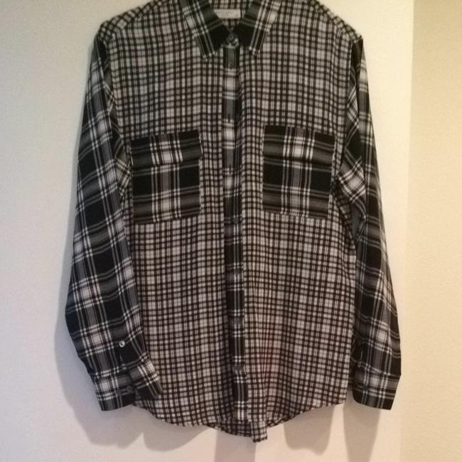 Equipment Button Down Shirt Black And White
