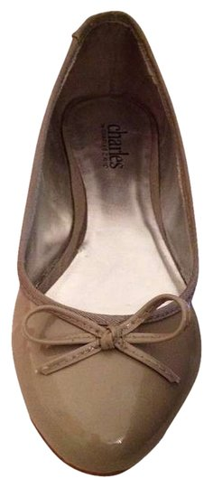 Charles by Charles David Beige Leather Patent Leather Bow Ballerina Ballerina Classic Trendy Fall Winter Closed-toe Taupe Flats
