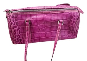 Dooney & Bourke Vintage Leather Croc Satchel in Fuchsia
