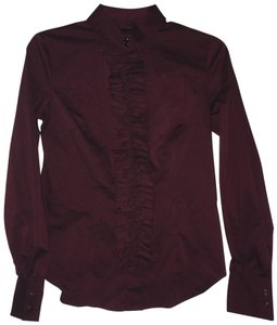New York & Company Ruffle Front Button Down Shirt Maroon