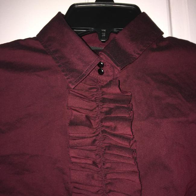 New York & Company Ruffle Front Button Down Shirt Maroon Image 1