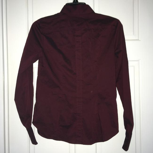 New York & Company Ruffle Front Button Down Shirt Maroon Image 2