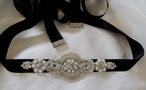 Dress Embellished Beaded Rhinestone Belt Sash
