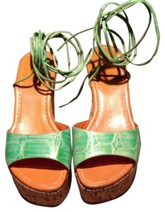 Pia Bang Wedge Ankle Tie Open Toe Natural Cork & Green Platforms