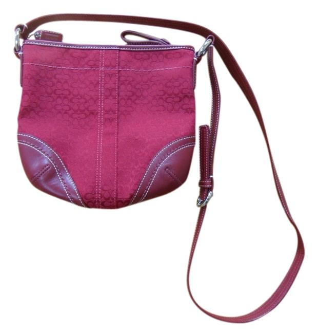 Coach Maroon Holiday Dark Red Cloth and Leather Cross Body Bag Coach Maroon Holiday Dark Red Cloth and Leather Cross Body Bag Image 1