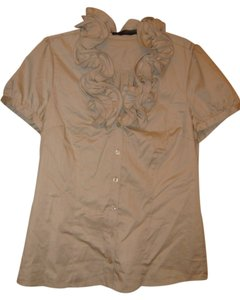 The Limited Ruffle Front Button Down Shirt tan