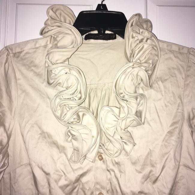 The Limited Ruffle Front Button Down Shirt Tan Image 1