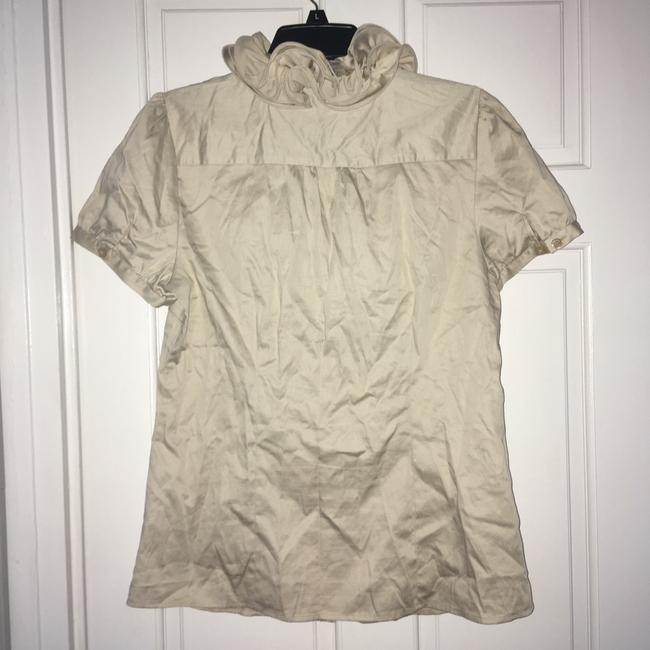 The Limited Ruffle Front Button Down Shirt Tan Image 2