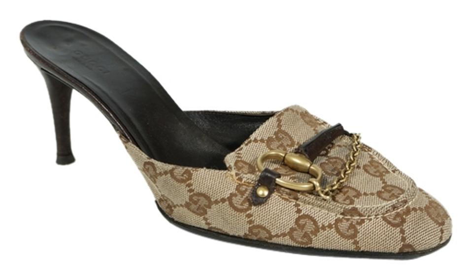 59367da120ed0 Gucci Monogram Canvas Horsebit Jacquard Chain Mules Slides Size US ...