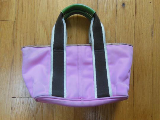 Coach Green Summer Spring Cloth Leather Mini Tote in pink