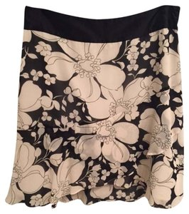 Banana Republic Black And White Silk Mini Skirt Graphic Floral