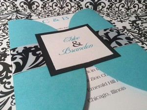 50 Tiffany Blue/turquoise And Damask Gatefold Wedding Invitation