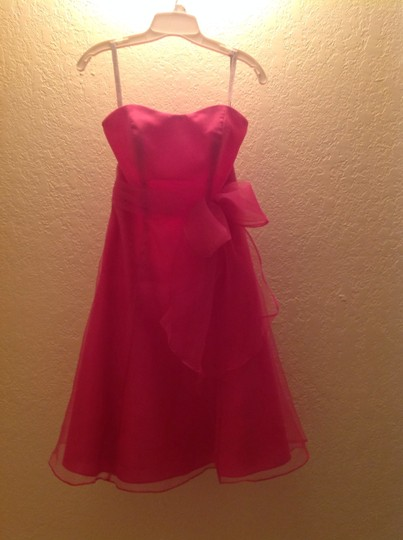 Alfred Angelo Fuschia Polyester 7095 Formal Bridesmaid/Mob Dress Size 2 (XS)