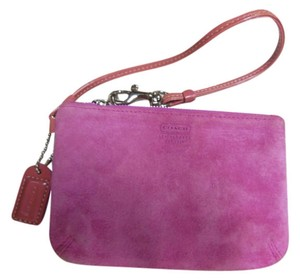 Coach Suede Dark Wristlet in pink