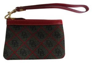 Dooney & Bourke Wristlet in dark gray and red