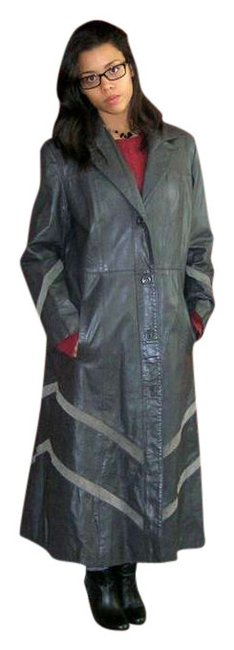 Preload https://img-static.tradesy.com/item/373009/grey-vintage-60s-70s-chevron-leather-and-suede-hippie-jacket-trench-coat-size-12-l-0-0-650-650.jpg