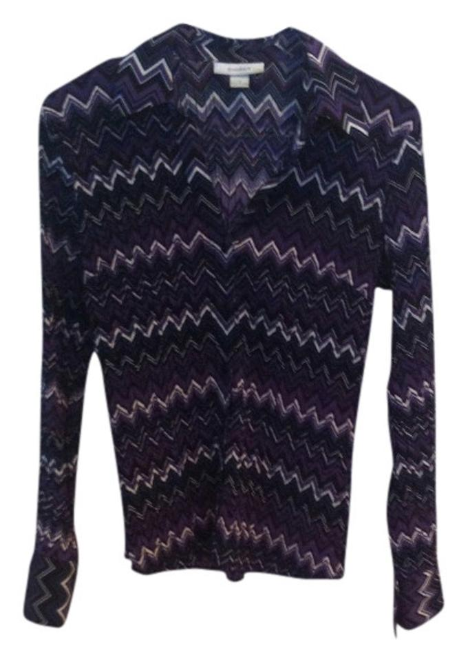 cd85ff871a2ed Dress Barn Multi-colored Purple Others Chevron Small Easy Care Easy Wear  Blouse Size 6 (S)