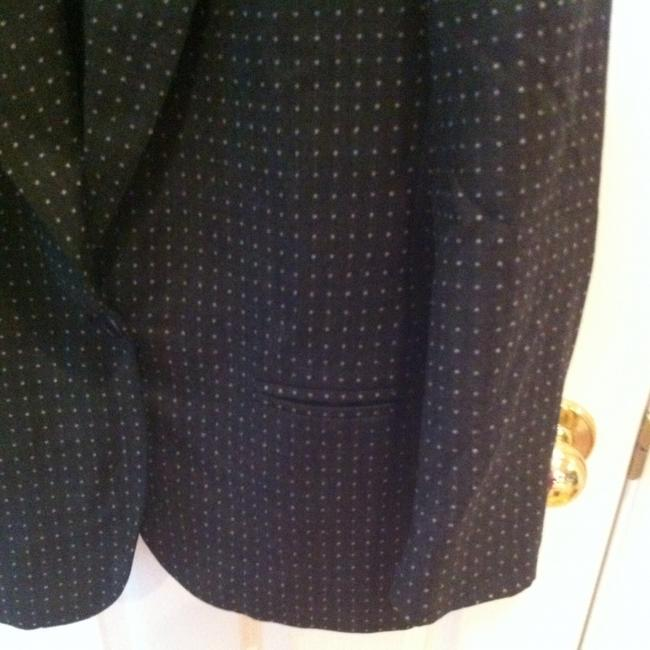 Alfred Sung Medium 8 Med M M Medium Med Wool 80's Professional Work Classic Traditional Suit Jcket Jacket Coat Polka Dot Lined Gray with Small White Dots Blazer