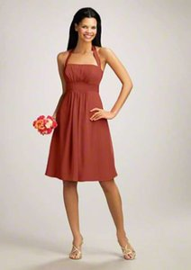 Alfred Angelo Burnt Orange Chiffon Satin Style 7016s Modern Bridesmaid/Mob Dress Size 6 (S)