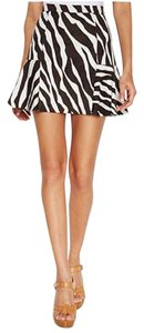 Michael Kors Zebra Animal Print Mini Skirt Ecru