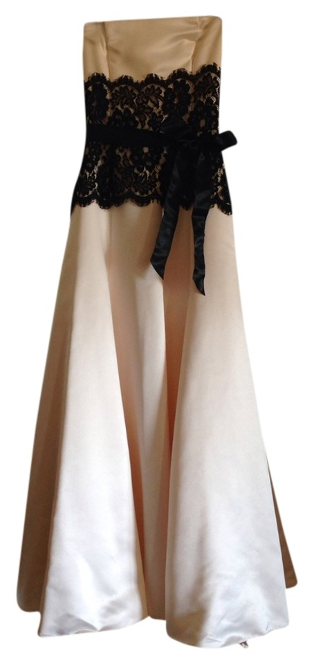 Jessica McClintock Cream/Black Ball Gown Long Formal Dress Size 0 ...