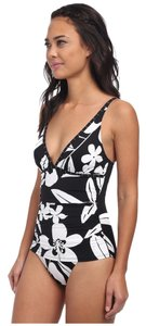 Tommy Bahama Tommy Bahama Hawaii Floral Over the Shoulder V Neck Black White Size 6