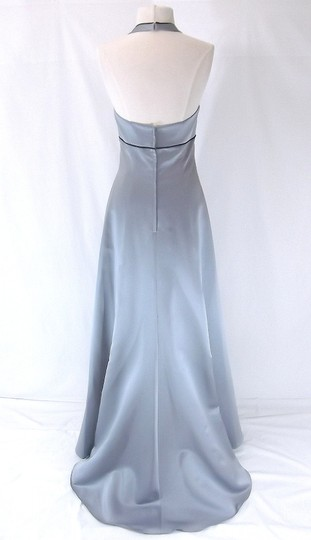 Alfred Angelo Platinum / Navy Satin 6499 Formal Bridesmaid/Mob Dress Size 4 (S)